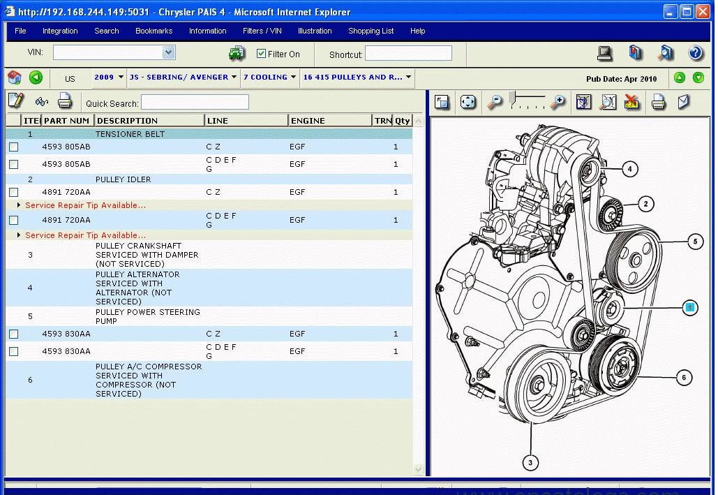 Refacciones para el Motor de Dodge Ram 4500 2012