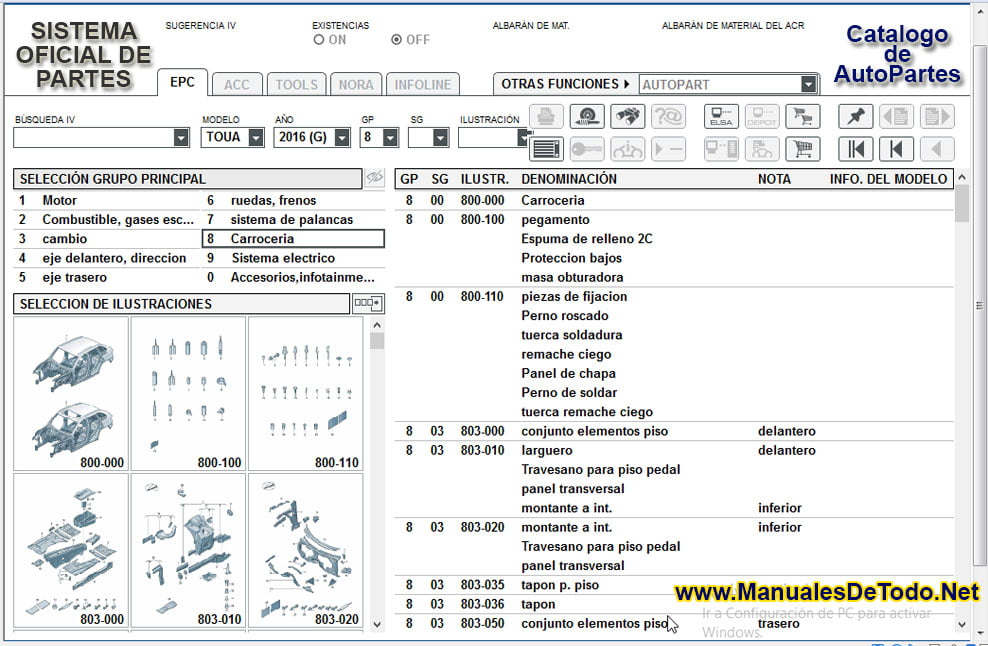 Contenido del Catalogo de AutoPartes para Seat Ibiza 1998