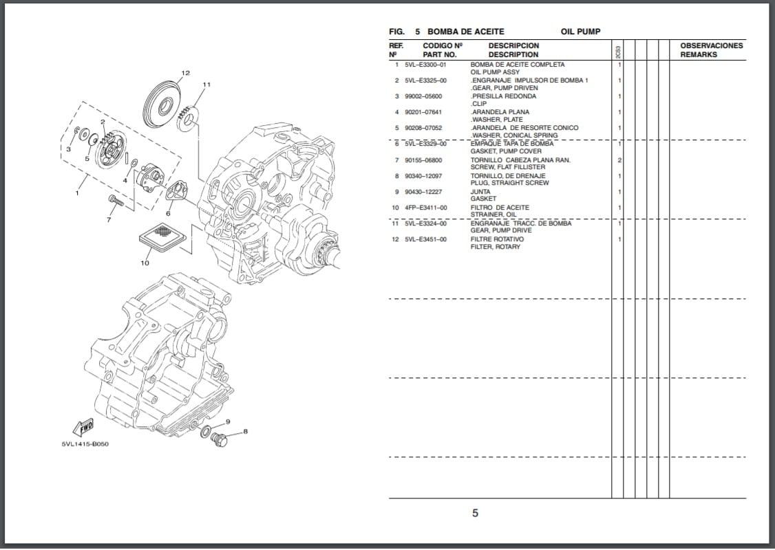 Repuestos motor moto Yamaha YFPS200 Blaster