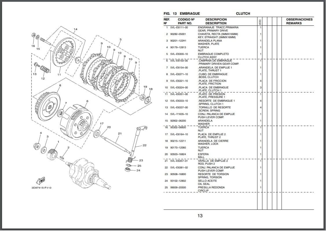 Descargar Manual de Repuestos Moto Yamaha YBR 125 ED