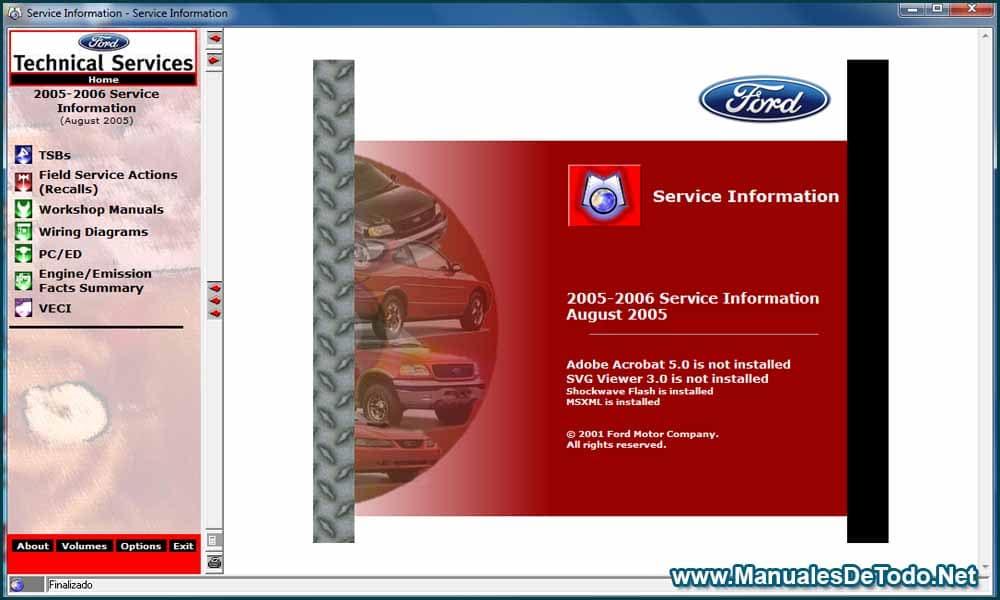 Ford TIS 2005-2006 Sistema de Información Técnica Manuales