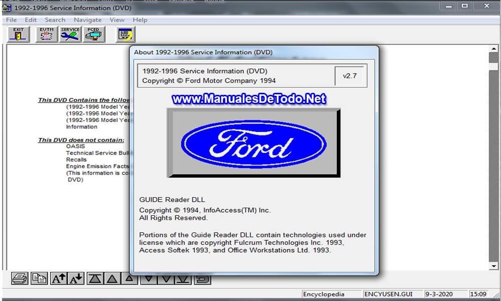 Ford TIS 1992-1996 Sistema de Información Técnica Manuales