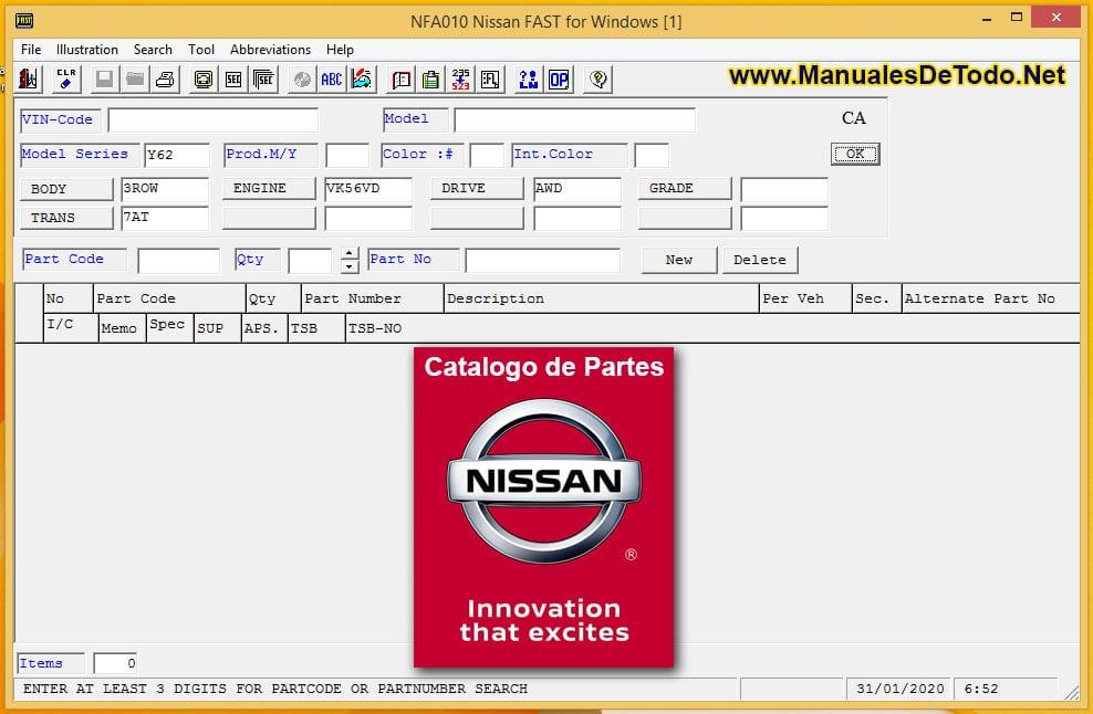 NISSAN FAST 2018 EPC + INFINITI Catalogo Electrónico de Partes