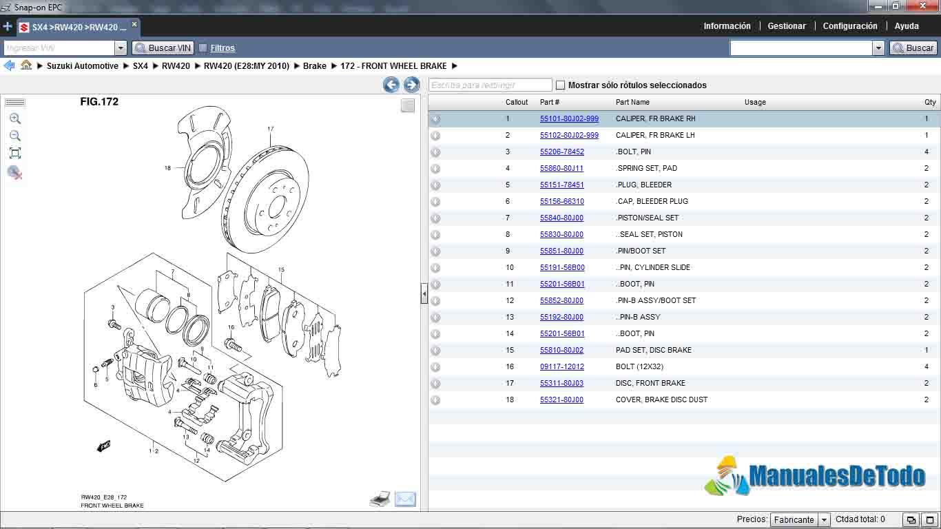 Partes Sistema de Frenos Suzuki